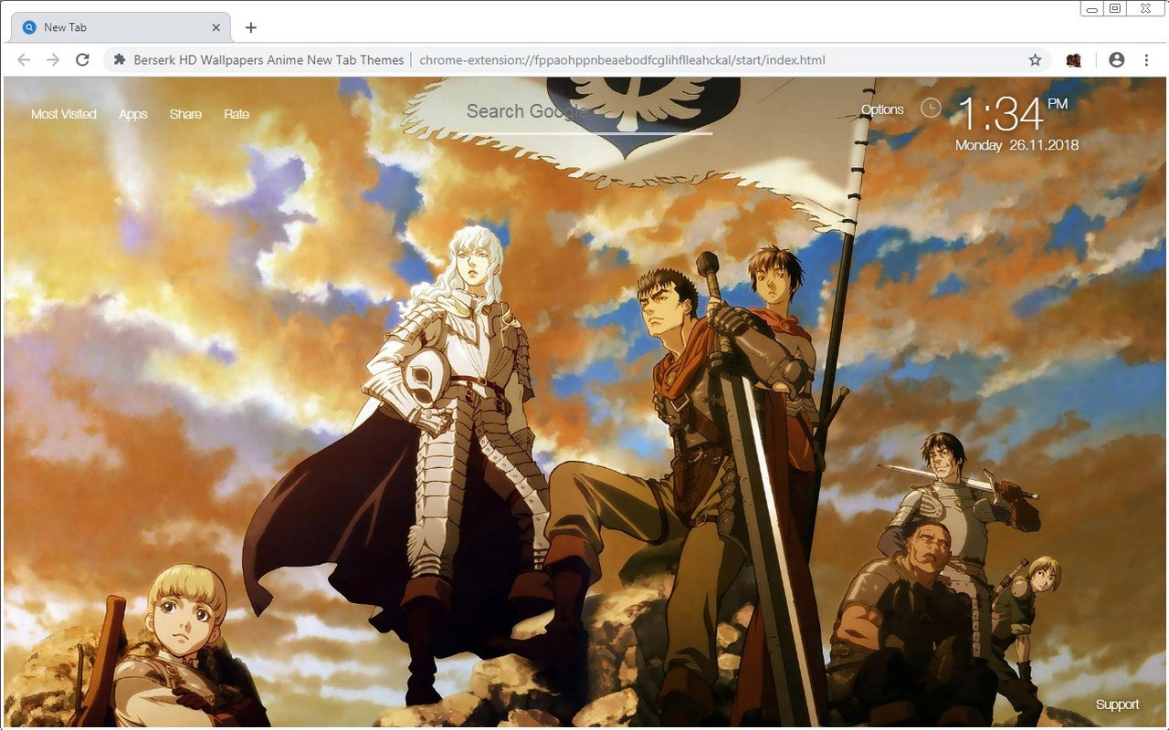 Berserk HD Wallpapers Anime New Tab Themes
