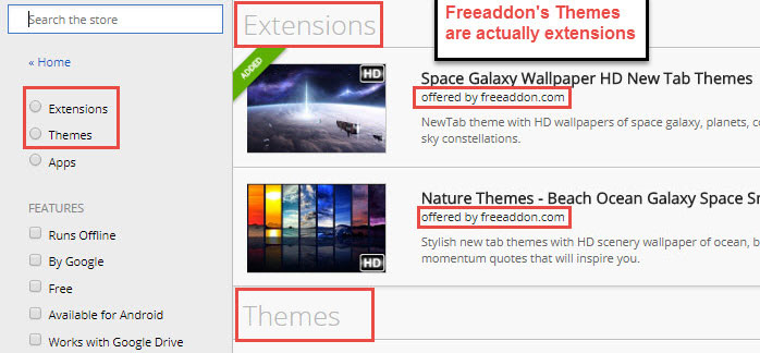 unfortunately there are many users who misunderstand that they install chrome themes from us but they are actually extensions